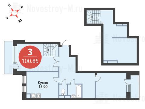"""3-комнатная квартира, 101 кв.м., в ЖК """"Сказка"""""""