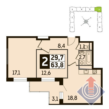2-комнатная квартира, 64 кв.м., в ЖК Up! Квартал Новое Тушино