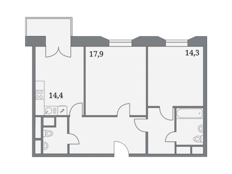 """Продается 2-к. квартира, 73,3 кв.м. в ЖК """"Клубный дом на Серпуховском ."""
