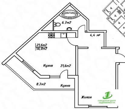 Однокомнатная квартира 56 кв.м.