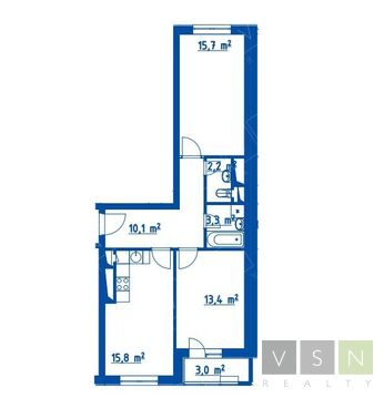 """2-комнатная квартира, 65 кв.м., в ЖК """"Летний сад"""""""