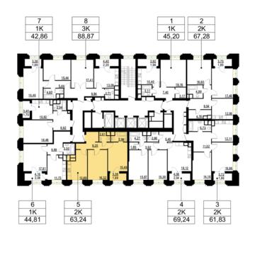 """2-комнатная квартира, 63 кв.м., в ЖК """"Родной город. Октябрьское поле"""""""