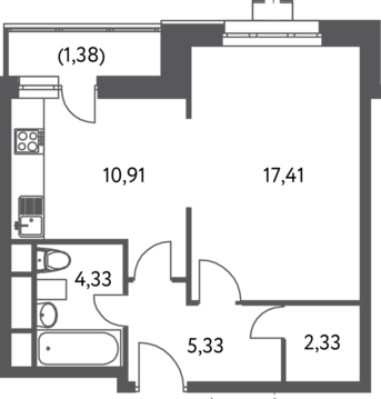 "1-комнатная квартира, 42 кв.м., в ЖК ""Лидер на Волгоградском"""