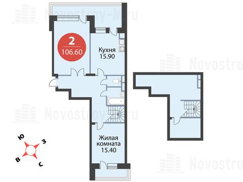 """2-комнатная квартира, 107 кв.м., в ЖК """"Сказка"""""""