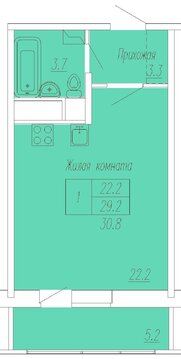 "1-комнатная квартира, 31 кв.м., в ЖК ""Спутник"""