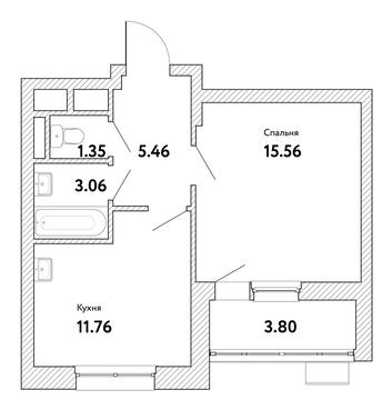 """1-комнатная квартира, 39 кв.м., в ЖК """"Пикассо"""""""
