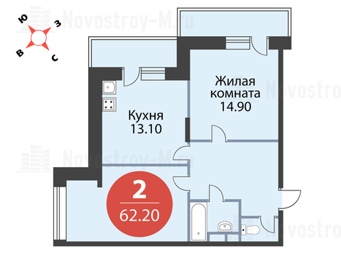 Павловская Слобода, 2-х комнатная квартира, ул. Красная д.д. 9, корп. 56, 5495370 руб.