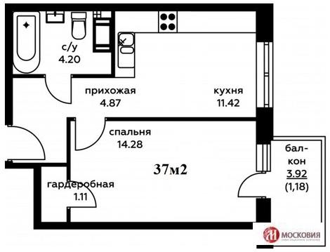 1 к кв 37м2, Новая Моква, квартира с ремонтом, 16 км от МКАД