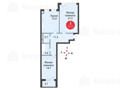 Павловская Слобода, 2-х комнатная квартира, ул. Красная д.д. 9, корп. 39, 6983145 руб.
