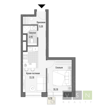"""1-комнатная квартира, 32 кв.м., в ЖК """"JAZZ"""""""