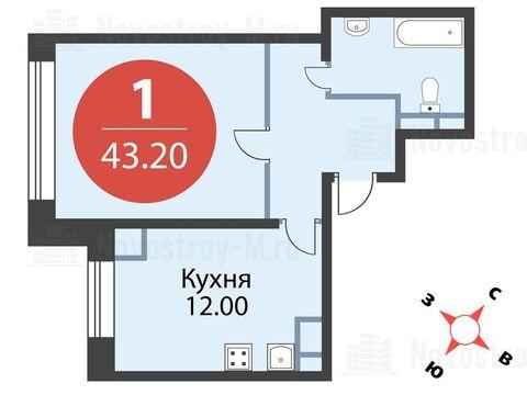 Павловская Слобода, 1-но комнатная квартира, ул. Красная д.д. 9, корп. 56, 4309200 руб.