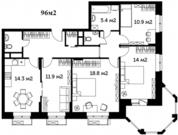 4 к.кв. 96м2, жилая 55.6м2. 6 км от МКАД, 15 минут от метро.