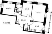 3 к.кв. 62.1м2, 7 этаж, монолитно-кирпичный дом. 5 км от МКАД