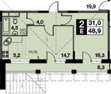 Развилка, 2-х комнатная квартира, Проектируемый проезд 5538 д.1А, 4710914 руб.