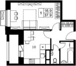 1 к.кв. 37.9м2, в новом жилом комплексе на юге Подмосковья.