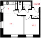 2 к.кв. 42.2м2 в новом жилом комплексе,15 минут до метро,4 км от МКАД.