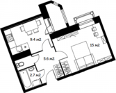 1 к.кв. 34м2 в современном комплексе, 5 км от МКАД