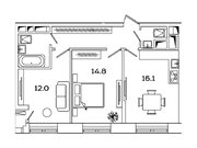 """Продается 2-к. квартира, 56,9 кв.м. в ЖК """"sreda"""""""