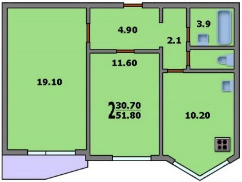 2-комнатная квартира п-44т: планировка вариант a: 60/33.7/12.