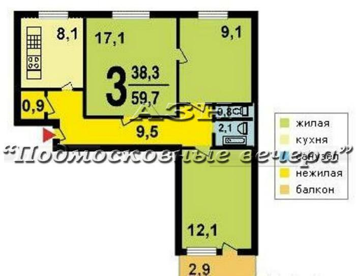 Купить 3-комнатную квартиру 61.0 м? по адресу москва, вороне.