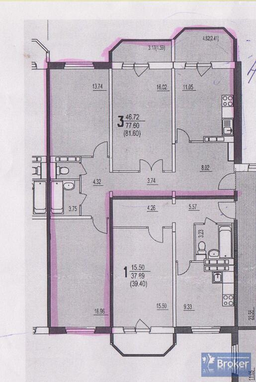 Домодедово, 3-х комнатная квартира, набережная д.14, 48900.