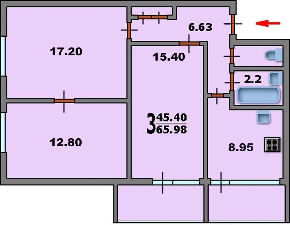 Москва, 3-х комнатная квартира, ул. парковая 10-я д.6, 1450.