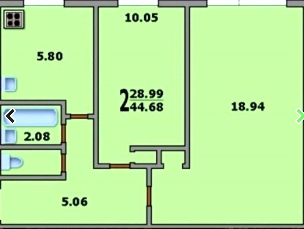 2-комнатная квартира i-515/5м: планировка вариант e: 44.7/29.