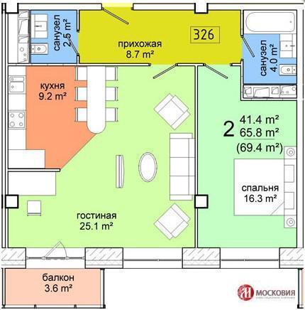 Видное, 2-х комнатная квартира, ул. сосновая д.15 к2, 5205.