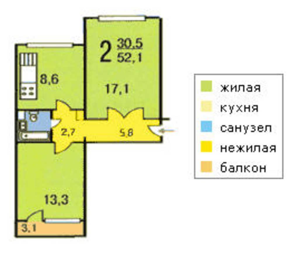 Москва, 2-х комнатная квартира, ул. лебедянская д.28к1, 620.