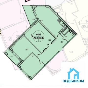 """3-комнатная квартира, 84 кв.м., в ЖК """"Роза Ветров"""""""