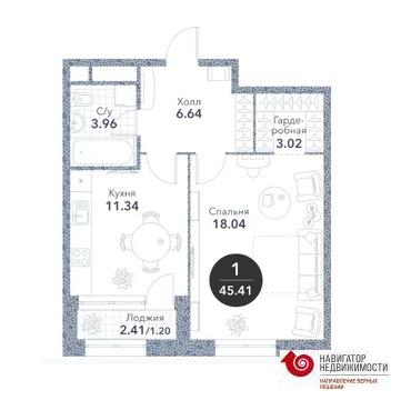 """1-комнатная квартира, 45 кв.м., в ЖК """"Серебряный фонтан"""""""