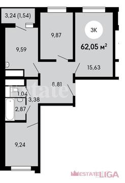 """3-комнатная квартира, 62 кв.м., в ЖК """"Бутово Парк 2"""""""