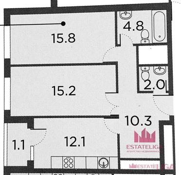 """2-комнатная квартира, 63 кв.м., в ЖК """"ЗИЛАРТ"""""""
