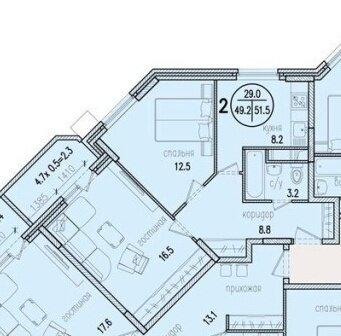 """2-комнатная квартира, 52 кв.м., в ЖК """"Северный Парк"""" г. Раменское"""