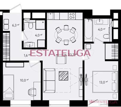 3-комнатная квартира, 67 кв.м.