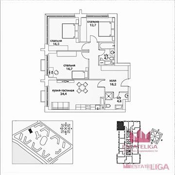 """3-комнатная квартира, 96 кв.м., в ЖК """"Сердце столицы"""""""