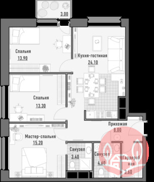 3-комнатная квартира, 86 кв.м., в Квартал JAZZ